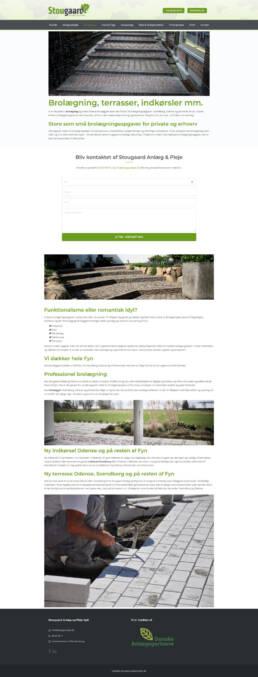 Et skærmbillede af en ydelsesside for stougaard anlægsgartners website