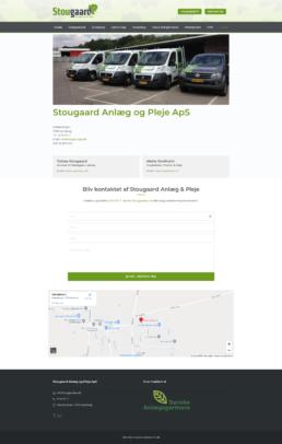 Et skærmbillede af kontaktsiden for stougaard anlægsgartners website